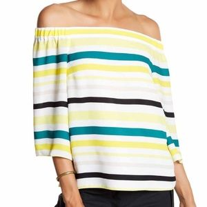 1 State Yellow Green Striped Off The Shoulder Top